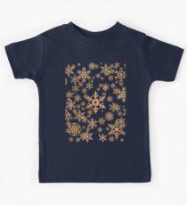 Snowflakes Pattern in Wood Veneer Style Print Kids Tee
