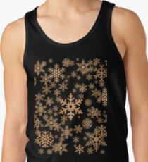 Snowflakes Pattern in Wood Veneer Style Print Tank Top