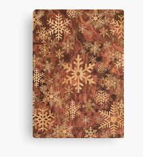 Snowflakes Pattern in Wood Veneer Style Print Canvas Print