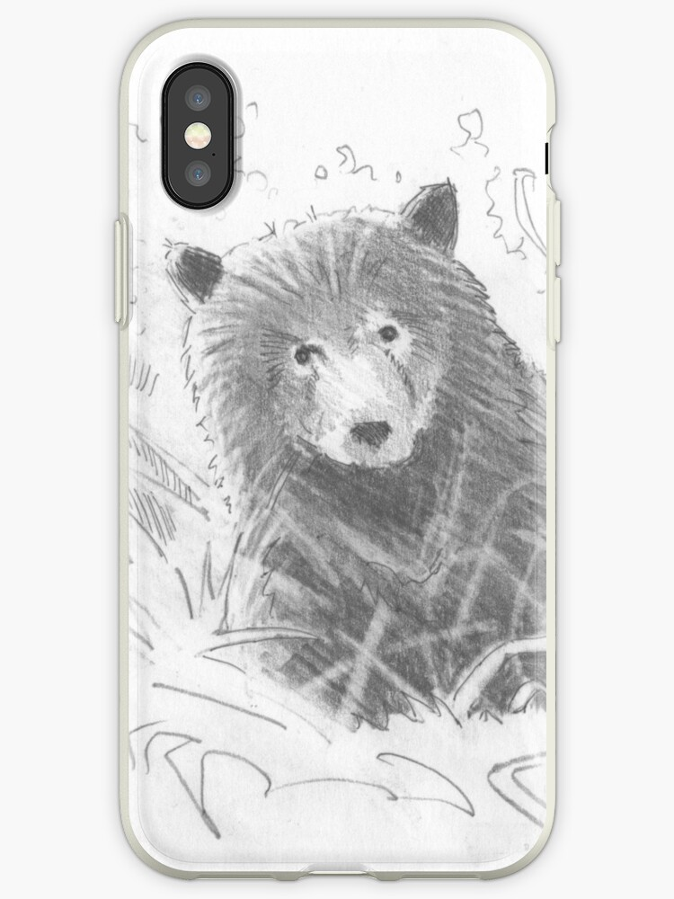 Grizzly Bear Cub Drawing Iphone Case By Mikejory