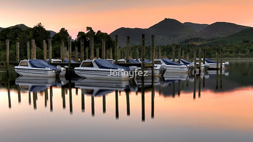 Derwent Water Boats at Sunset by Jonnyfez