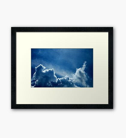 HEAVENLY BLUE CLOUDS Framed Print