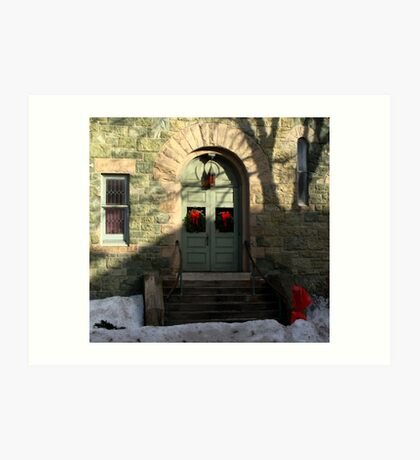 Church door decorated for Christmas. Art Print