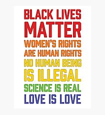 LGBT t shirts - Black Lives Matter Women's Rights Are Human Photographic Print