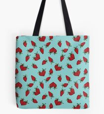 Vintage Style Strawberries on Aqua Tote Bag