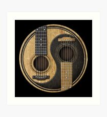 Old and Worn Acoustic Guitars Yin Yang Art Print