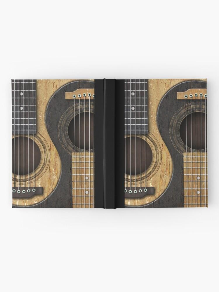 Alternative Ansicht von Alte und getragene Akustikgitarren Yin Yang Notizbuch