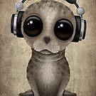 Nette Baby-Dichtung DJ Wearing Headphones von jeff bartels
