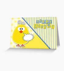 Easter Chick in Yellow and Blue Greeting Card