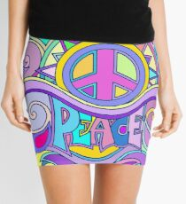 Psychedelic Hippy Retro Peace Art Mini Skirt