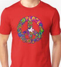 Flower Power Retro Hippie-Friedenssymbol Unisex T-Shirt