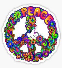 Flower Power Retro Hippie Peace Symbol Sticker