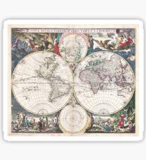 Ancient Map / Nova Totius Terrarum Orbis Tabula. A. J. Bormeester 1685 (undated) Sticker