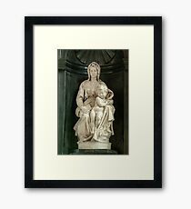 Marble sculpture of the Madonna and Child by Michelangelo Framed Print