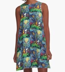Doggy picnic under the Starry night  A-Line Dress