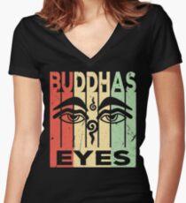 Buddhas Eyes Vintage Retro Women's Fitted V-Neck T-Shirt