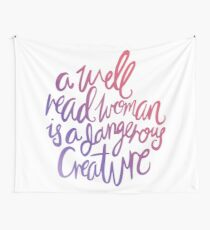 Well Read Woman - Girl Nerd Feminist Quote - Gradient Wall Tapestry
