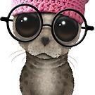 Netter Dichtungs-tragender Pussy-Hut und Gläser auf Rosa von jeff bartels