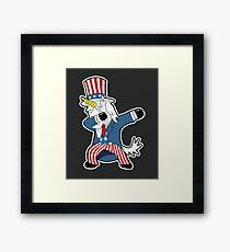 Uncle Sam Unicorn Dab Shirt Dabbing Funny Magic Hip Hop T-Shirt For Men, Women, and Kids Framed Print