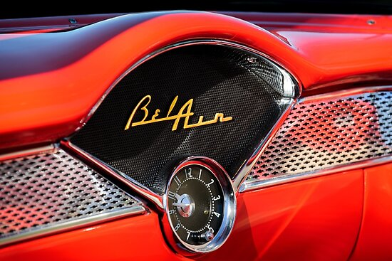 1955 Chevrolet Bel Air Dashboard Emblem Clock 0985c Posters By Jill