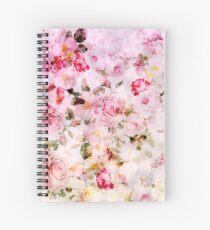 Rosa Blumenmuster des Pastell-Aquarells der Weinlese Spiralblock