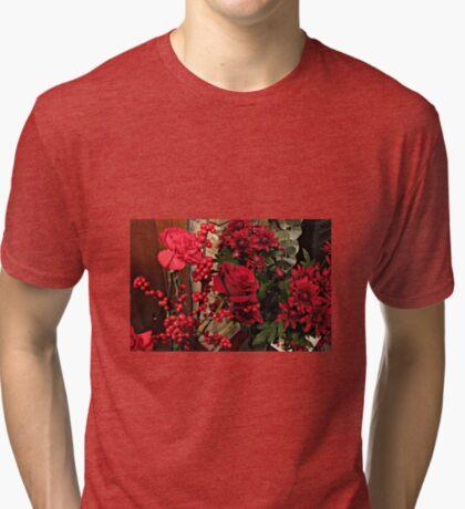 Scarlet Sensation - Winter Flowers and Berries Vintage T-Shirt