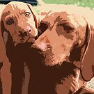 Viszla Mother And Puppy Portrait Abstract by Oldetimemercan