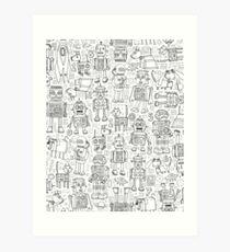 Robot pattern - black and white - fun pattern by Cecca Designs Art Print