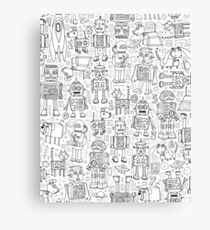 Robot pattern - black and white - fun pattern by Cecca Designs Canvas Print