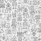 Robot pattern - black and white - fun pattern by Cecca Designs by Cecca-Designs