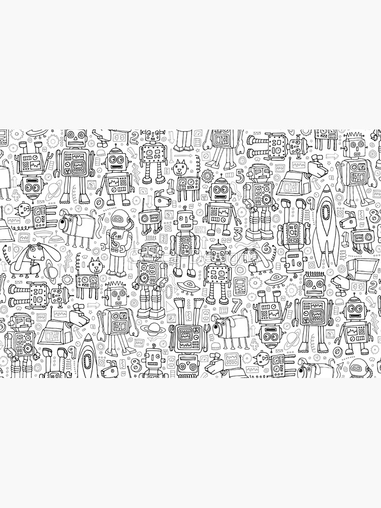 Robot pattern - black and white - fun pattern by Cecca Designs by Cecca-Designs