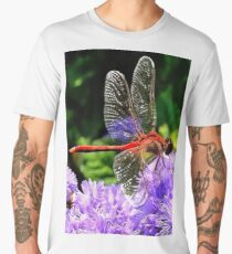 Red Dragonfly on Violet Purple Flowers Men's Premium T-Shirt