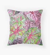 Caladiums tropical plant painting Throw Pillow