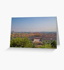 China. Beijing. Jingshan Park. View at the Forbidden City. Greeting Card