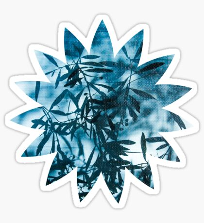 Olive tree leaves silhouette summer blue Sticker