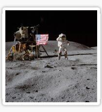 Astronaut saluting the American flag during Apollo 16  by NASA Sticker