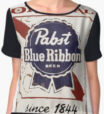 Pabst Blue Ribbon Beer PBR Distressed Logo Chiffon Top