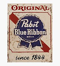 Pabst Blue Ribbon Distressed Logo Photographic Print