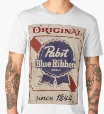 Pabst Blue Ribbon Distressed Logo Men's Premium T-Shirt