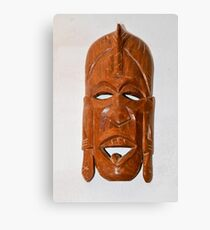 Wooden African ceremonial mask on white background  Canvas Print