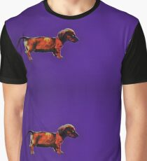 Dachshund in Blue Graphic T-Shirt