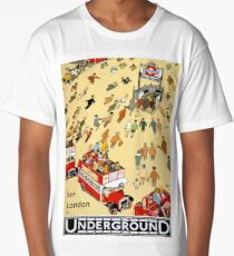 See London by underground, London tube transport, vintage travel poster Long T-Shirt