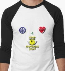 Peace Love Good Happiness Stuff Men's Baseball ¾ T-Shirt