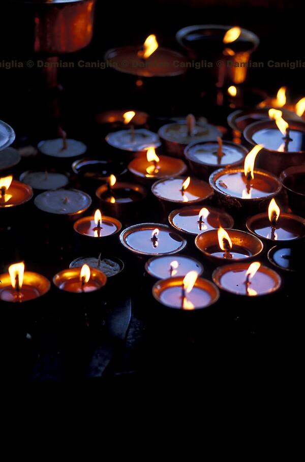 Oil Lamps, Kathmandu, Nepal by damiancaniglia