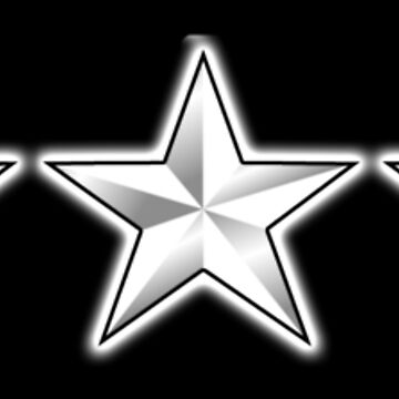 5 STAR, SILVER STARS, in LINE, USAF, General of the Air Force, General of the Army, Fleet Admiral, on BLACK by TOMSREDBUBBLE