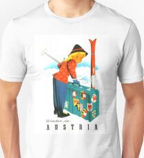 Austria, winter ski sport, winter holiday, vintage, travel, poster T-Shirt