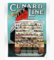 Oversea cruise line, cruiser, ship, boat, vintage travel poster Poster