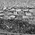 Volcanic Rock Wall Layers Black and White by Elizabeth Casswell