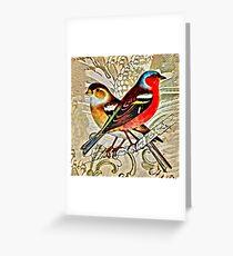 BRIGHT BIRDIES COLLAGE Greeting Card