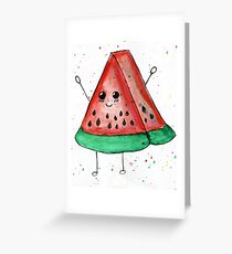 Cute funny watercolor watermelon Greeting Card